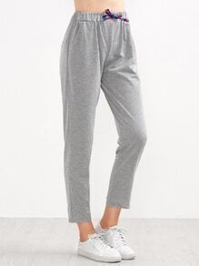 Heather Grey Drawstring Waist Ankle Pants