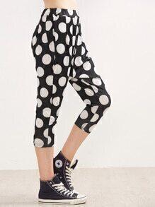 Black Polka Dot Print Elastic Waist Pants