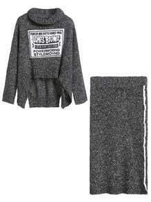 Letter Print Turtleneck Dip Hem Sweater With Skirt