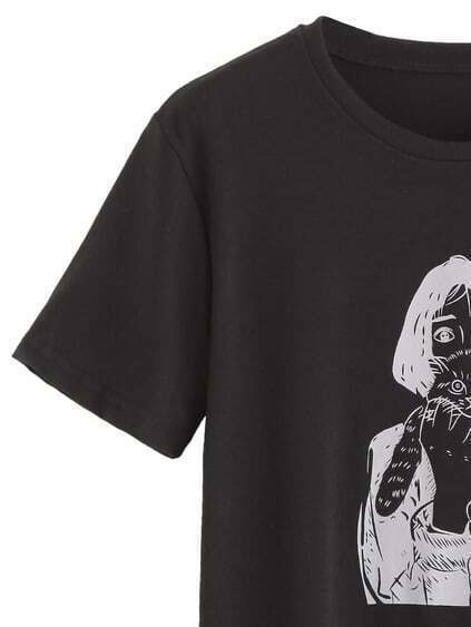 Black Girl Holding Cat Print T-shirt
