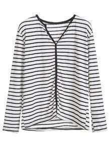 Black White Stripe Shirred Front T-shirt