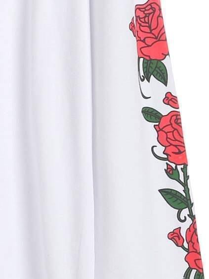 White Floral Print Long Sleeve T-shirt