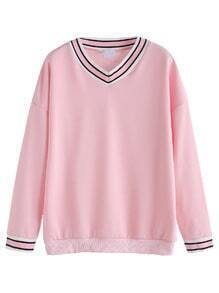 Pink Striped Drop Shoulder Sweatshirt