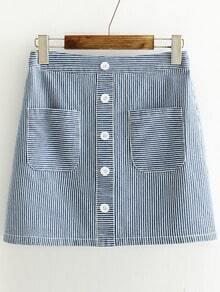 Blue Striped Single Breasted Denim Skirt