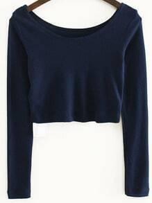 Blue Long Sleeve Crop T-Shirt