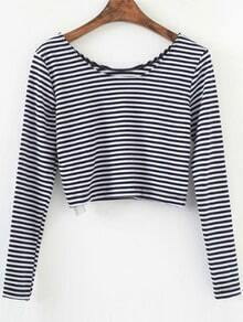Black Striped Long Sleeve Crop T-Shirt