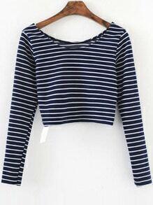 Blue Striped Long Sleeve Crop T-Shirt