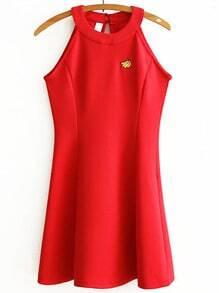 Red Embroidered Halter Sleeveless Dress