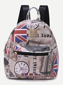 Beige PU Union Jack Print Front Zipper Backpack