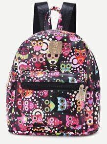 Rose Pink PU Graffiti Owl Backpack