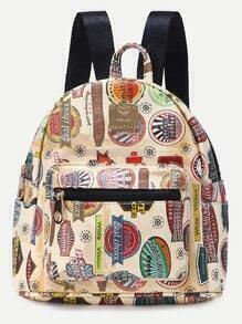 Beige PU Stamps Print Front Zipper Backpack