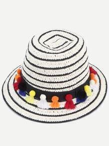 Black And White Pom Pom Trim Straw Hat