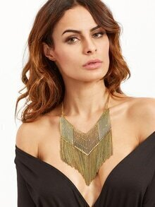 Antique Gold Chain Fringe Hollow Out Statement Necklace
