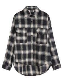 Black White Plaid Drop Shoulder Dip Hem Pockets Shirt