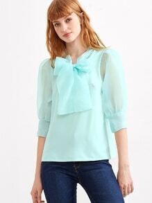 Pale Green Puff Sleeve Bow Tie Organza Blouse