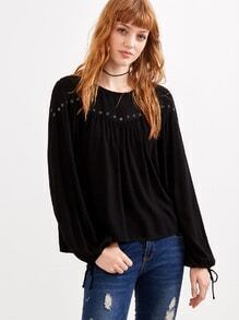 Black Metal Eyelet High Low Blouse With Drawstring Cuff