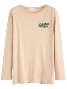 Apricot Letter Embroidered Distressed T-shirt