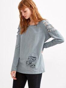 Pale Blue Ripped Crochet Insert T-shirt