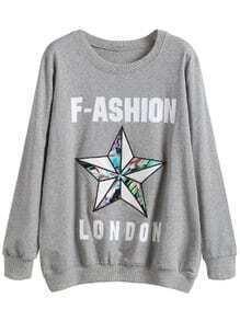 Light Grey Letter Print Star Embroidered Sweatshirt