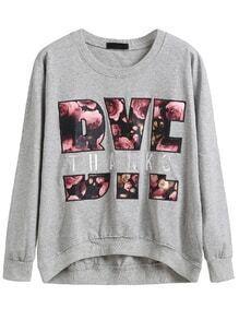 Heather Grey Drop Shoulder Dip Hem Letter Embroidered Sweatshirt