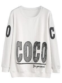 White Letter Print Rhinestone Sweatshirt