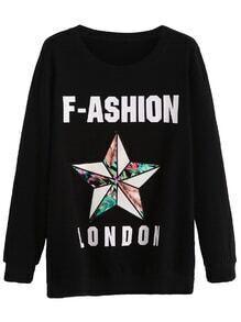 Black Letter Print Star Embroidered Sweatshirt