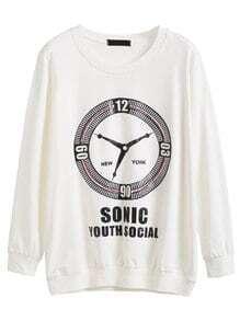 White Clock Letter Print Rhinestone Sweatshirt