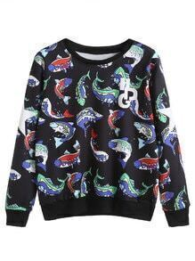 Black Cartoon Fish And Letter Print Sweatshirt