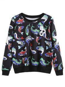Black Cartoon Fish And Letter Print Sweatshirt