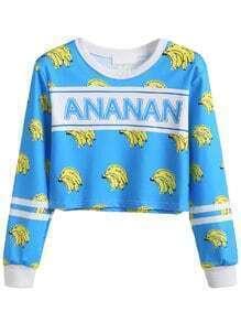 Blue Contrast Trim Printed Crop Sweatshirt