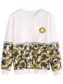Contrast Camo Print Smile Face Embroidered Patch Sweatshirt