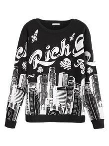 Black City Print Sweatshirt