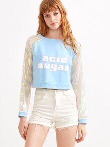 Blue Contrast Raglan Sleeve Letter Print Crop Sweatshirt
