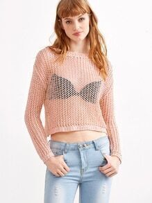 Pink Drop Shoulder Crop Lattice Sweater