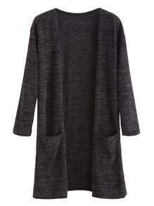 Dark Grey Pockets Long Cardigan
