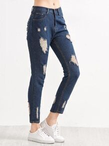 Dark Blue Ripped Ankle Jeans