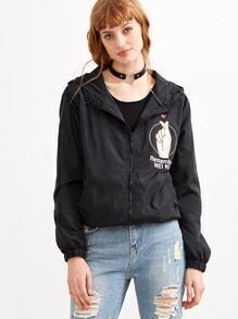 Black Hand And Letter Print Zip Up Hooded Jacket