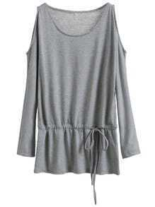 Grey Cold Shoulder Drawstring Waist T-shirt
