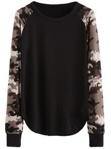 Black Contrast Raglan Sleeve Sweatshirt