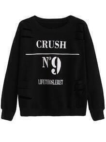 Black Numbers Print Distressed Sweatshirt