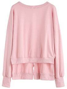Pink Drop Shoulder Slit Tie Back High Low Sweatshirt