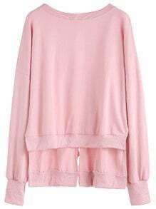 Pink Drop Shoulder Slit Tie Back High Low Sweatshirt
