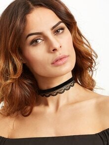 Black Double Layer Velvet Lace Choker Necklace