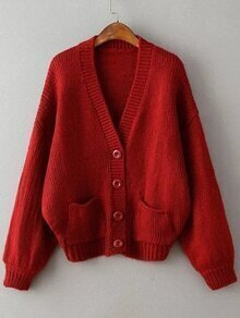 Red Ribbed Detail Drop Shoulder Button Up Sweater Coat With Pockets