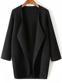 Black Draped Collar Raglan Sleeve Long Cardigan