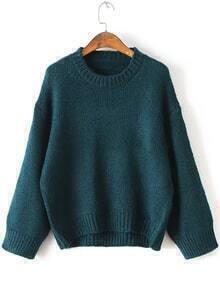 Green Drop Shoulder Loose High Low Sweater