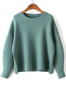 Green Round Neck Ribbed Trim Drop Shoulder Knitwear