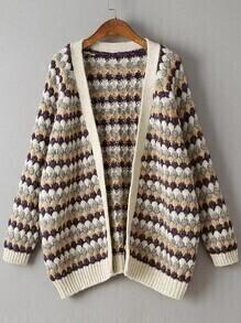 Geometric Pattern Raglan Sleeve Open Front Sweater Coat