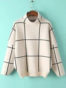 White Grid Drop Shoulder Turtleneck Sweater