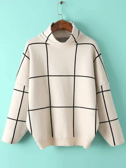 White Grid Drop Shoulder Turtleneck Sweater pictures